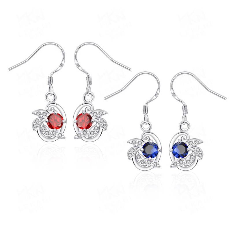 Elegant Design Silver Plated Fashion Crystal Silver Drop Earring for Women Ladies Jewelry Best Gift
