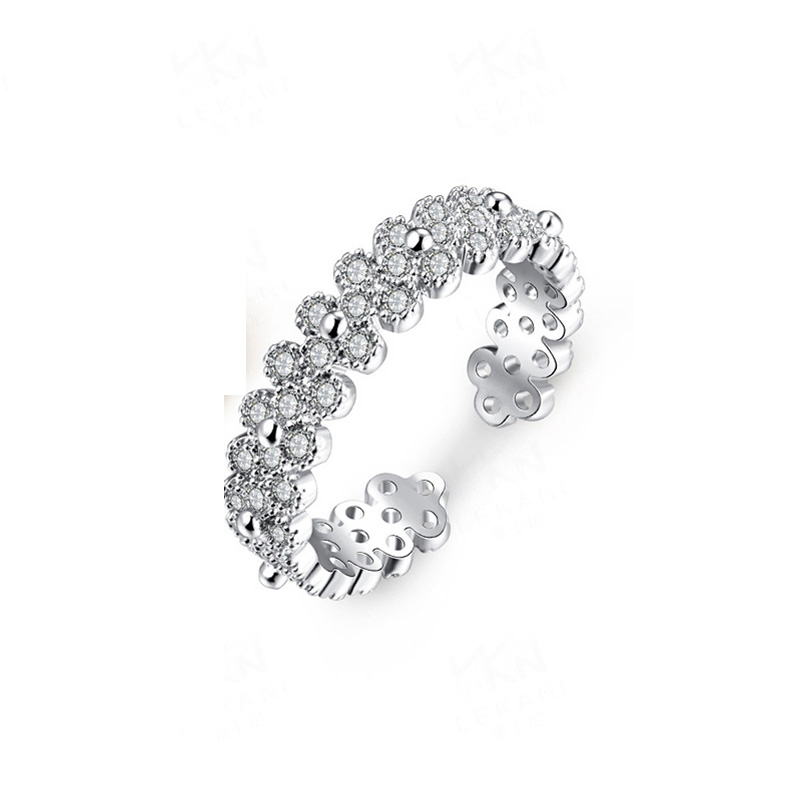 Rhinestone Full Finger Rings Copper Gold Plated With 925 Sterling Silver For Women Resizable Ring Fashion Jewelry