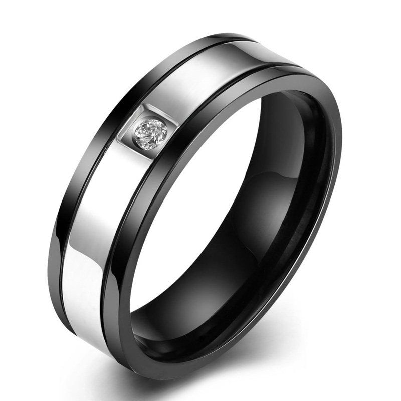 Fashion Silver Black Zircon Rings For Men 316L Stainless Steel Wedding Engagement Bands Ring For Party