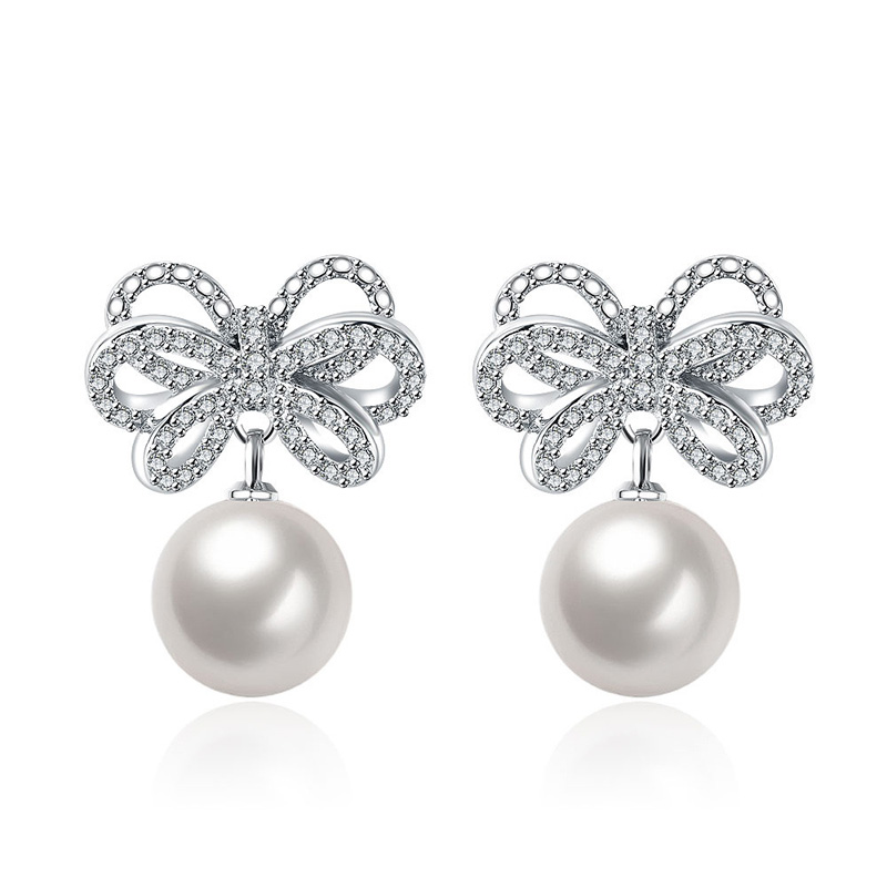 Pearl Crystal Zircon Earring Charm Brincos Bow Drop Earrings For Girl