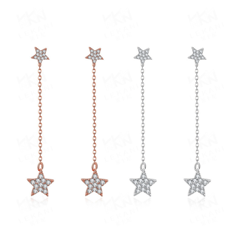 Dainty Star Shape Post with Zircon Long Hanging Chain Earrings for Girl