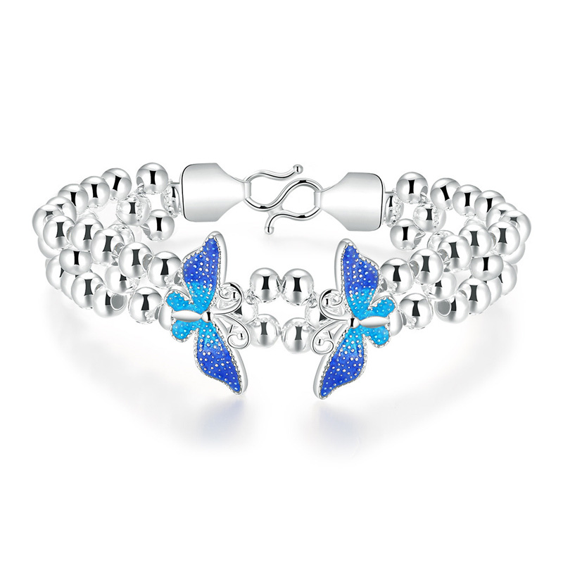 925 Sterling Silver Blue/Green Butterfly Braclet for Girl