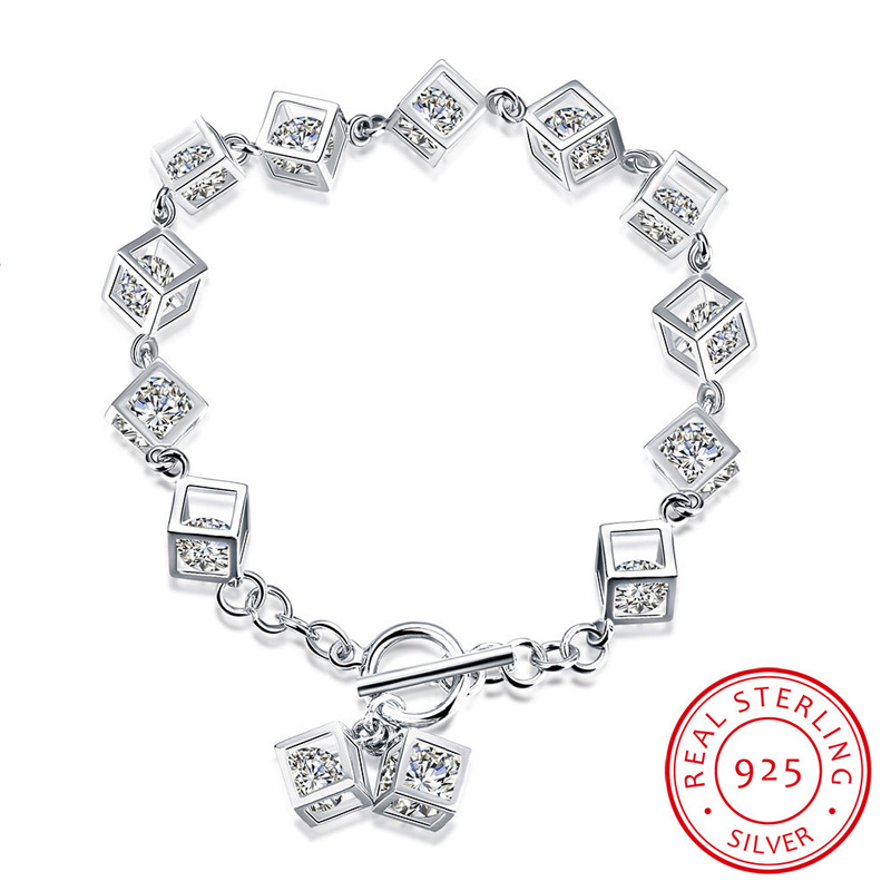 925 Sterling Silver Jewelry 18cm Crystal Square Fashion Bracelets for Women Lady Party Christmas Gifts