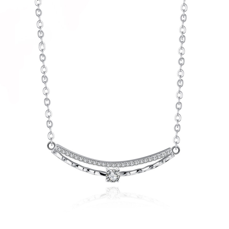 Shining Long Zircon Pendant Necklace Women Unique Silver Necklace Female Jewelry Girl Friend Gifts