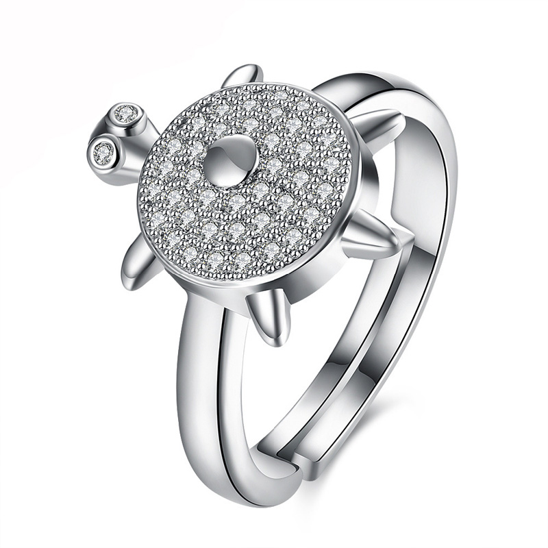 Trendy Cute Tortoise Shaped CZ Crystal Ring for Girls and Women 925 Sterling Silver Plated Zirconia Jewelry