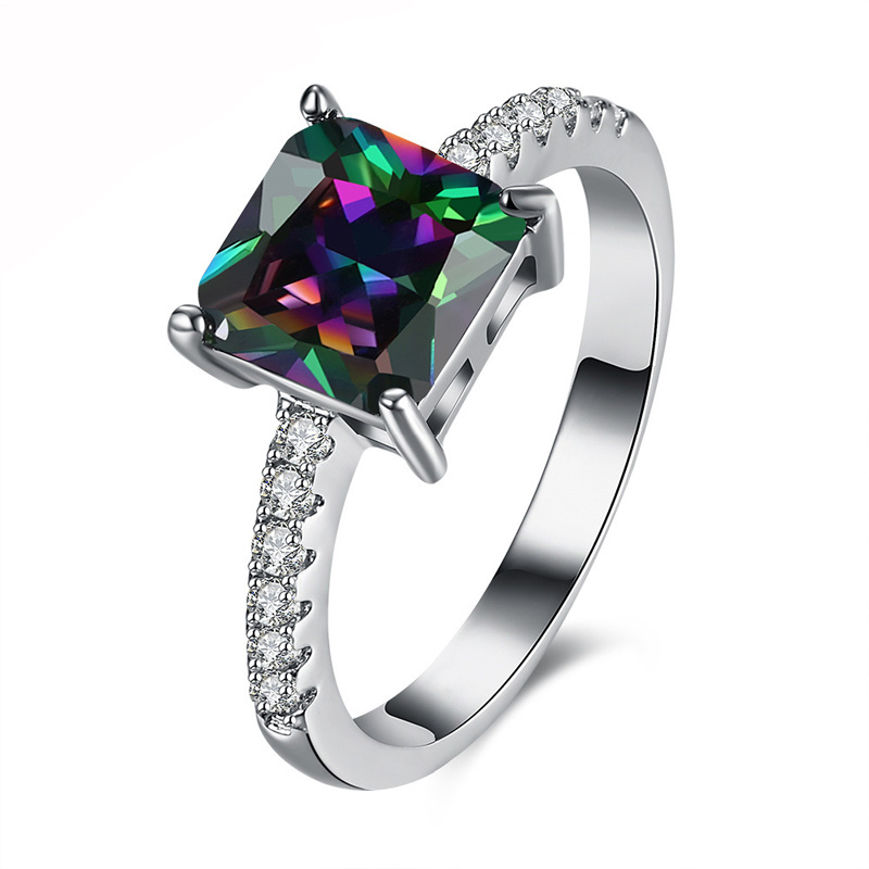Mystic Rainbow Silver color Engagement Rings For Women colorful Zirconia finger Ring Jewelry