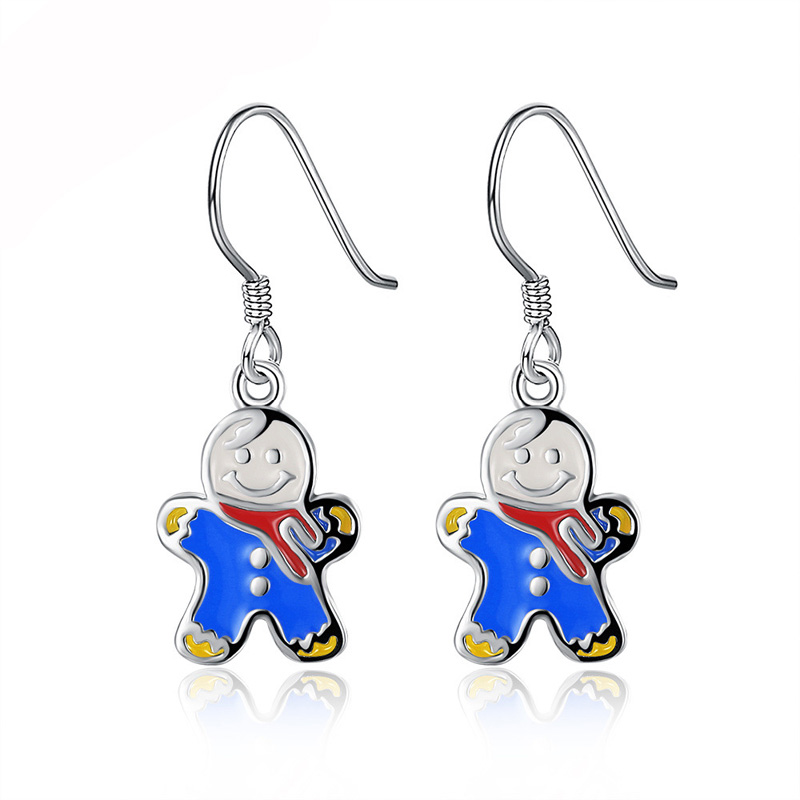 2 Colors Cute Snowmen Wholesale Silver Plated Drop Earrings for Women Girls Christmas Gifts