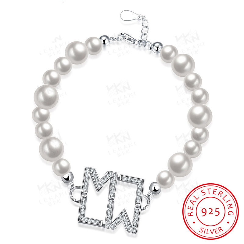 New Arrival Trendy Charm 100% Real Pure 925 Sterling Silver BraceletSimulated Pearl Bracelet with Letters LW for Women Lady