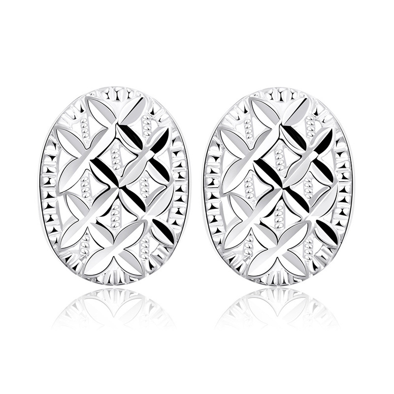 E655 Stud Earring Women Earings Oval Carving Clover Silver plated Earrings Fashion Jewelry 2016 New Nickel Free Wholesale