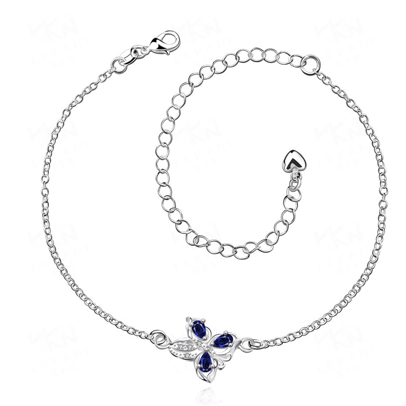 925 sterling silver plated beaded foot chain with butterfly and extended chain fine jewelry for women anklets