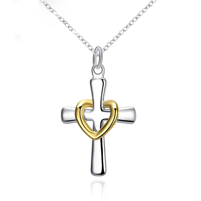 New Fashion Men Silver Gold Plated Jewelry Chain Necklace Heart Crucifix Christian Pendant Choker Necklace Accessories 95Z