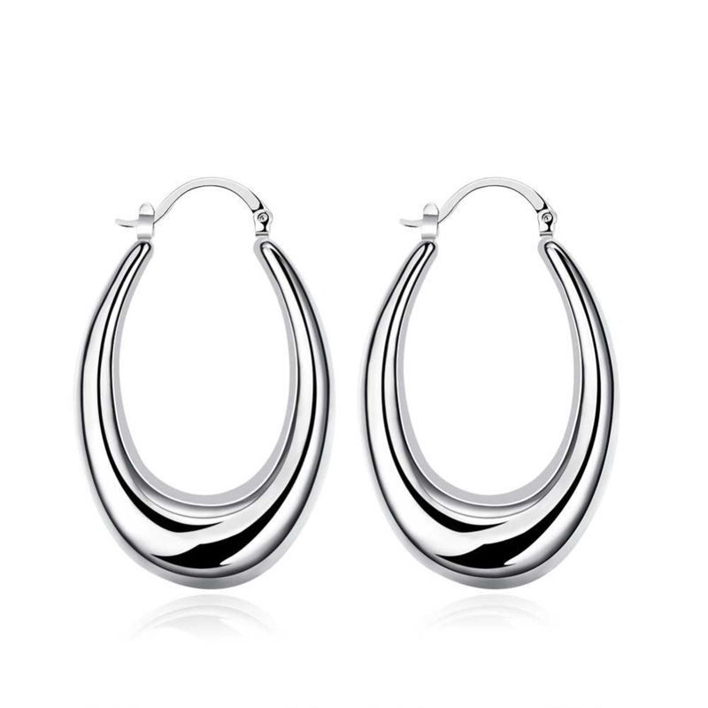 U Style Hoop Earings 925 Pure silver Prata Princo Free Fashion New Jewelry