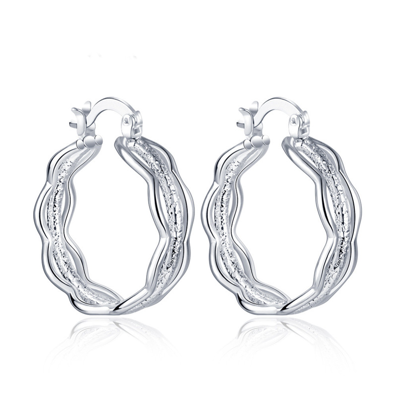925 Silver plated Circles Hoop Earrings High Quality for Seasons Holidays Gift Jewelry