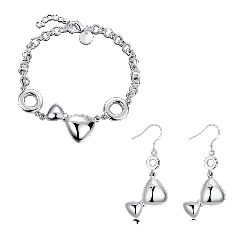 Fashion Simple Bow Jewelry Set Silver Plated Bow Stud Earrings & Bracelets For Women Party Jewelry