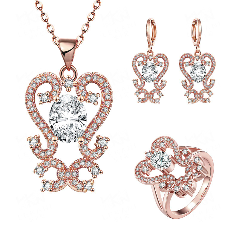 Fashion Gold Plated Elegant Flowers Environmental with Cubic Zirconia Jewelry Sets Necklace+Earrings+Ring