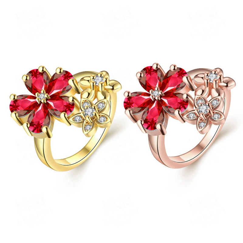 Diamond Engagement Rings Top Brand Gold Plated with Multi Flowers Inlaid Red&White Cubic Zirconia Rings Jewelry
