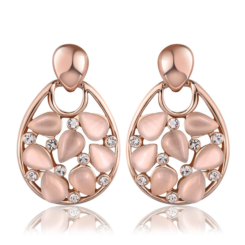 Gold Plated Cat Eye Stone Diamond Inlay Earring for Women