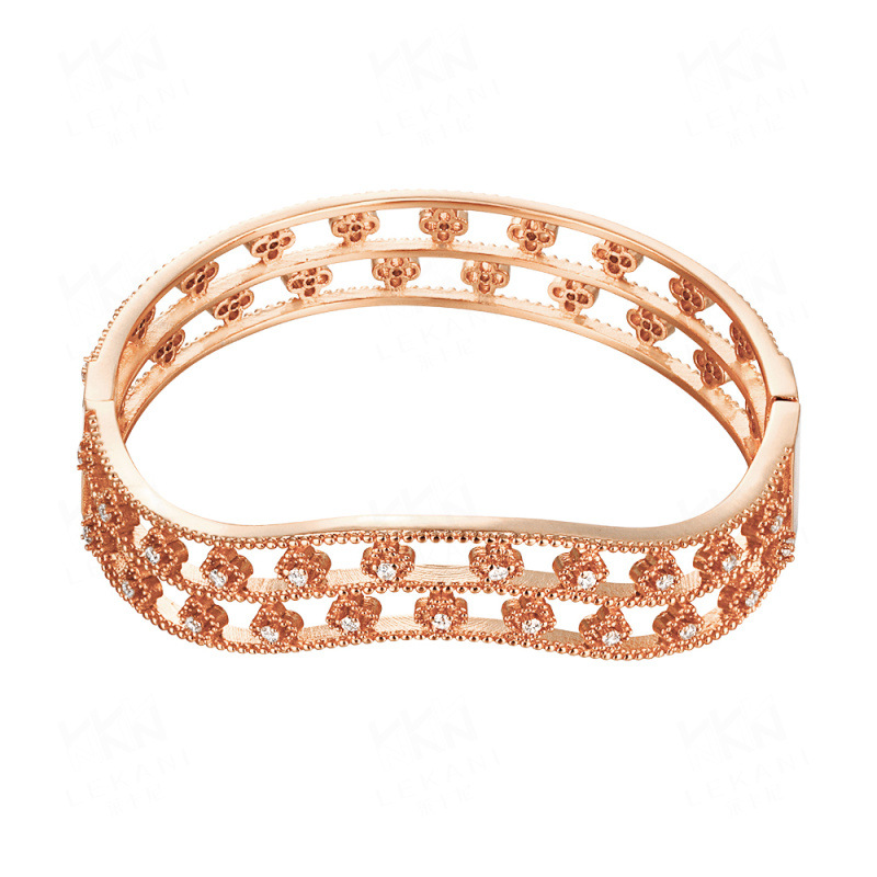 Popular Wave Shape Cubic Zirconia 24K/Rose Gold Plated Bangle Bracelet for Women Party Jewelry