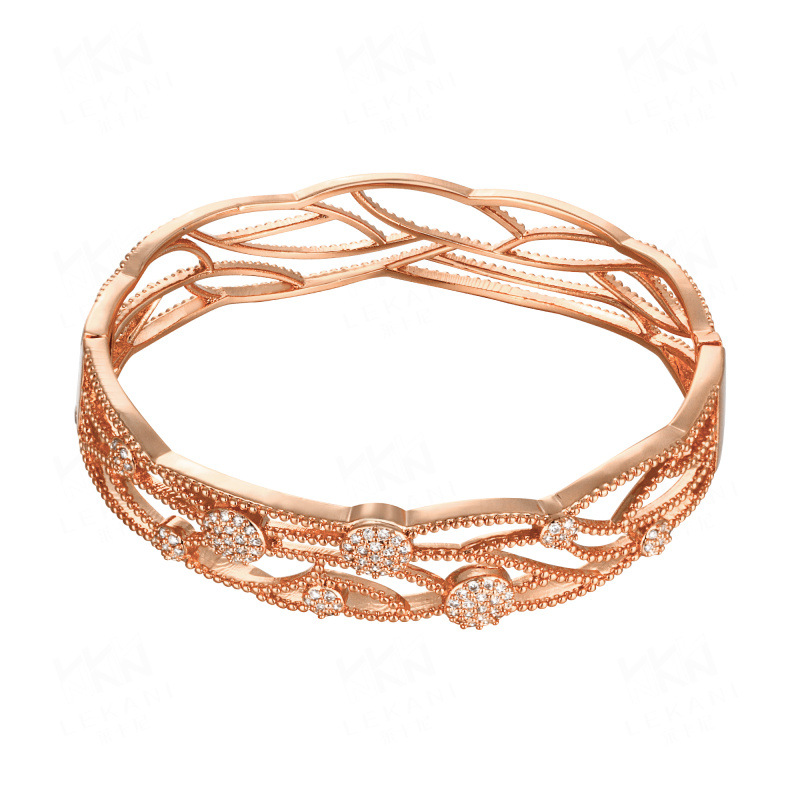 Fashion Jewelry Bnagle Branches and Fruits with Crystal Zircon Rose Gold Bracelet Cuff Love Gift Bracelets & Bangles For Women