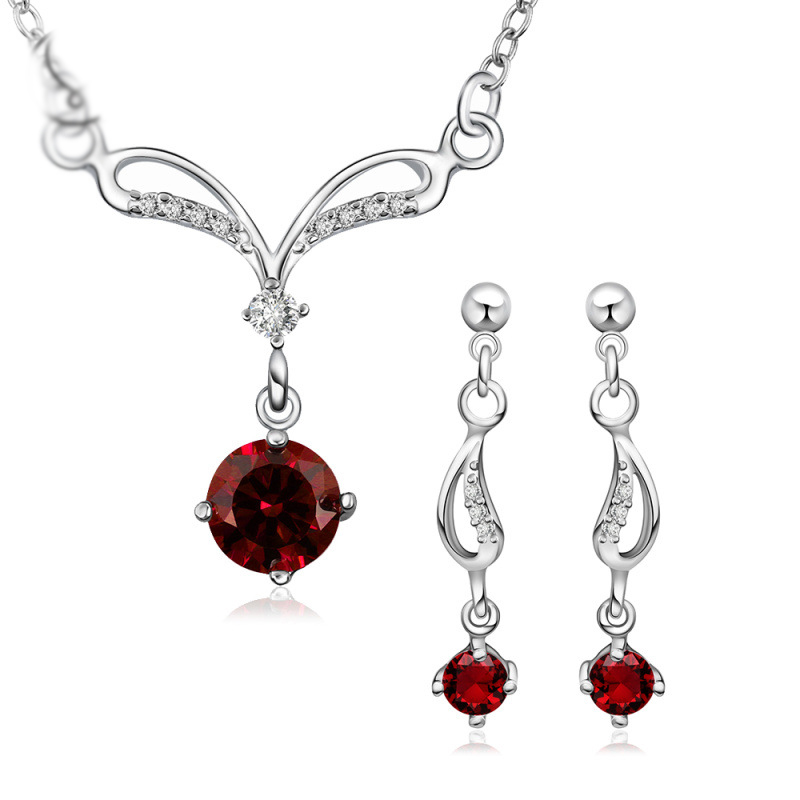 New Fashion Fancy Style Silver plated Necklace Earring Pretty Crystal Wedding Jewelry Set For Women