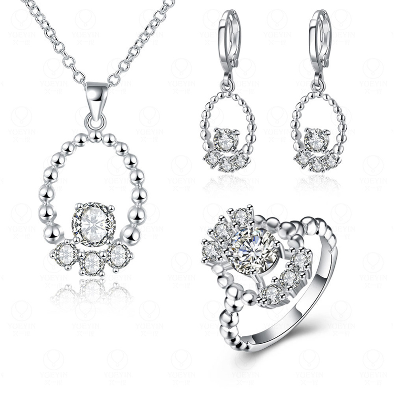 Shining Zircon White Crystal Bead Jewelry Sets Silver Plated Women Earrings Necklace Set And Rings Jewelry