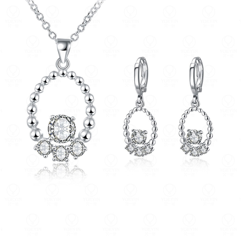 Hood New Arrival Fashion Women Elegant Silver Plated Zirconia Necklace Earrings Jewelry Sets