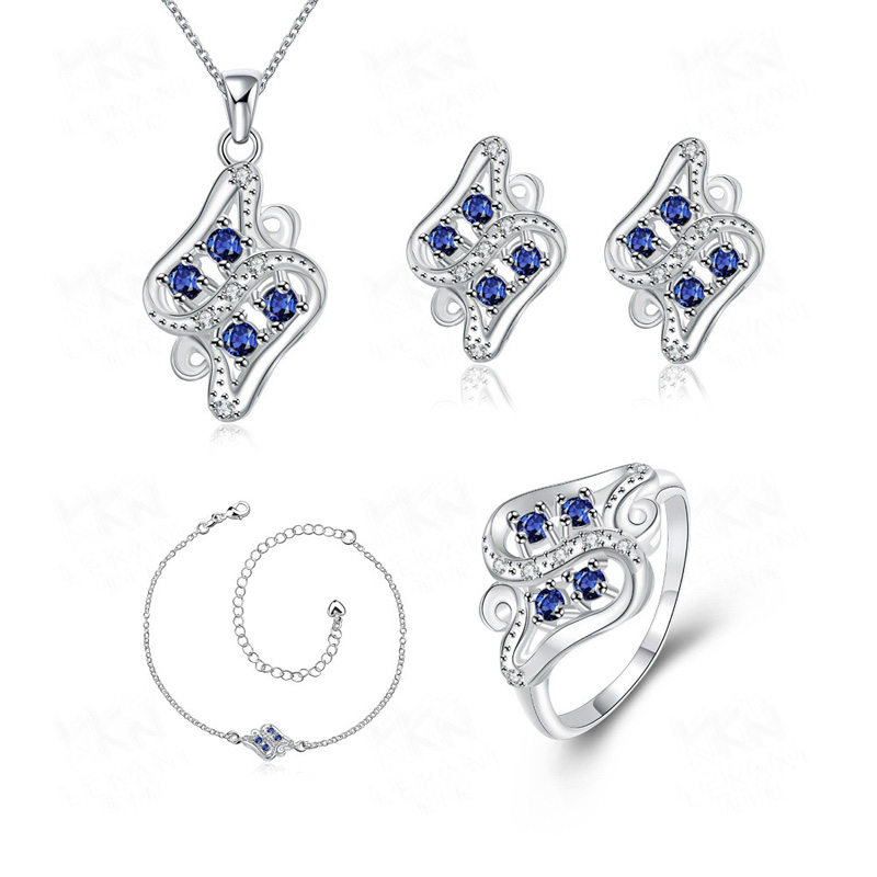 Elegant Cubic Zirconia Jewelry Sets Blue/Red Necklace+Earrings+Ring+Braclet