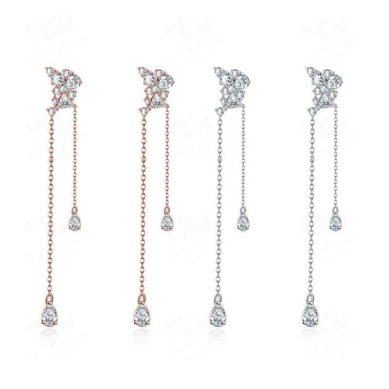 Earrings for Women Fashion Rose Gold/Platinum Plated Long Drop Earrings Personality Jewelry Inlaid Cubic Zirconia