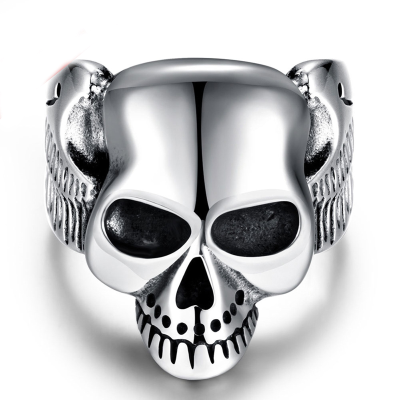 Cool design 316L stainless steel skull men's finger ring personality punk rock style Top quality Factory Outlet