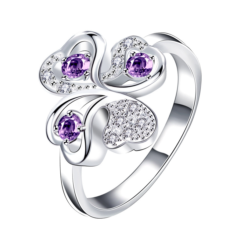 Four Flower Ring Purple Zirconia Women's Cheap Rings Ladies and Girls Jewelry For Female Engagement Wedding