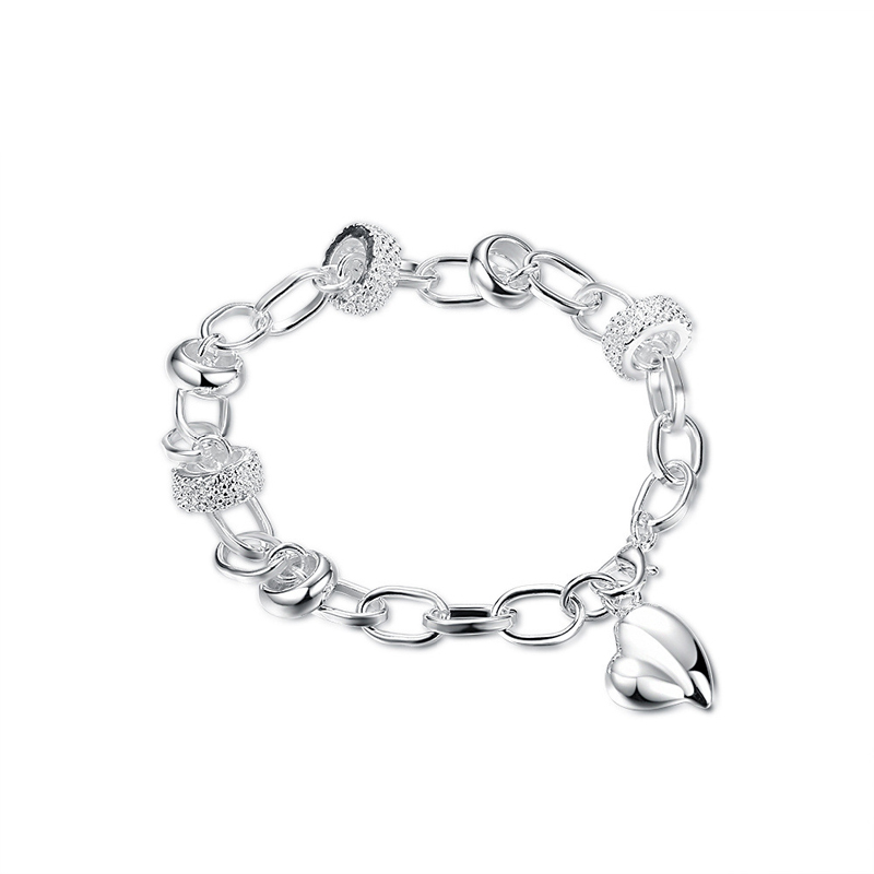 Christmas Gift Wholesale Jewelry 925 Sterling Silver Fashion Circle Charm Bracelets&Bangle