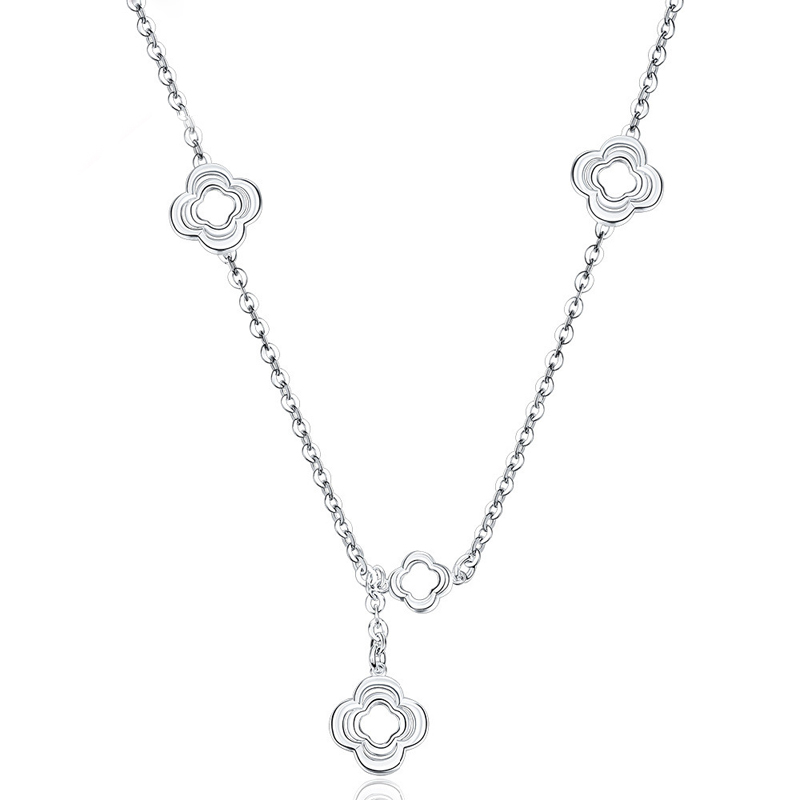 Flower Pandent 925 Sterling Silver Elegant Necklace for Women
