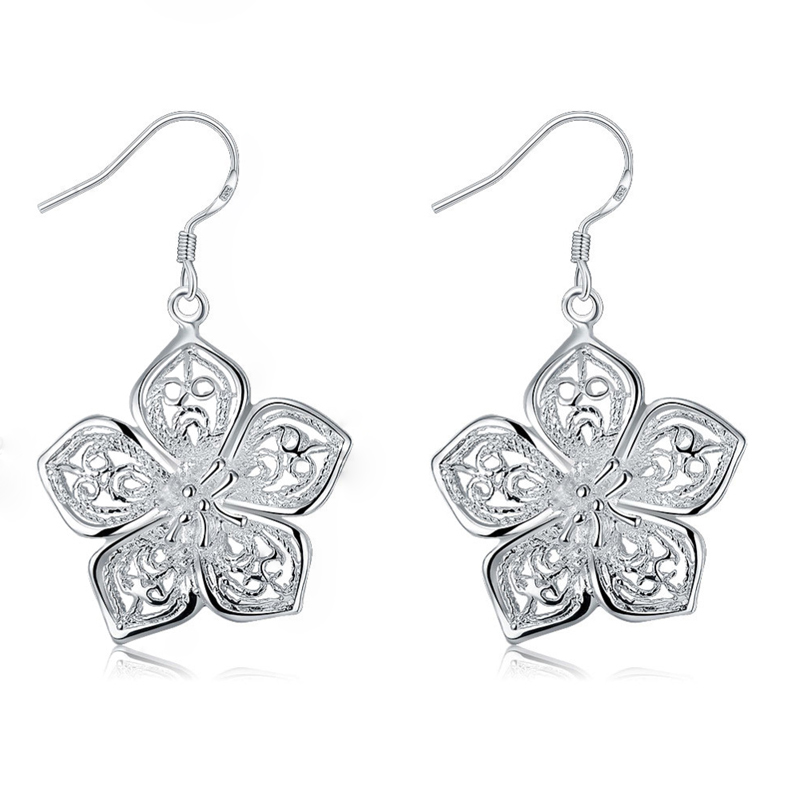 High Quality Silver plated Beautiful Flower Earrings Fashion Jewelry Christmas gifts