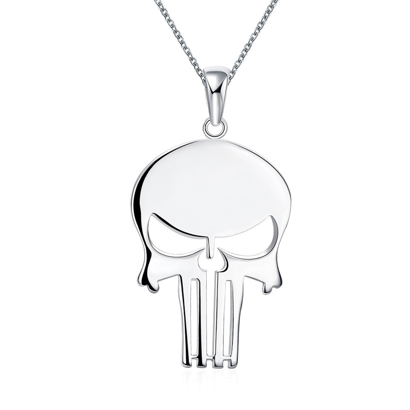 Fashion silver plated Skull jewelry factory wholesale women wedding pendant with 18inch chain necklace