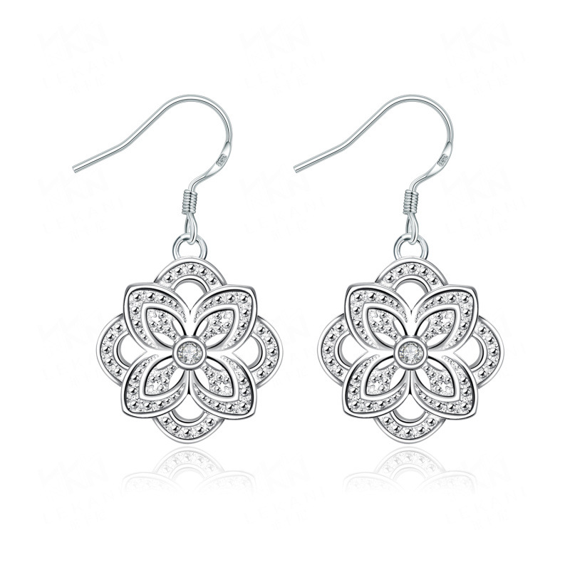 Fashion New Style Silver Plated Jewelry Lovely Cherry Leaf Bead Earrings For Women Earrings
