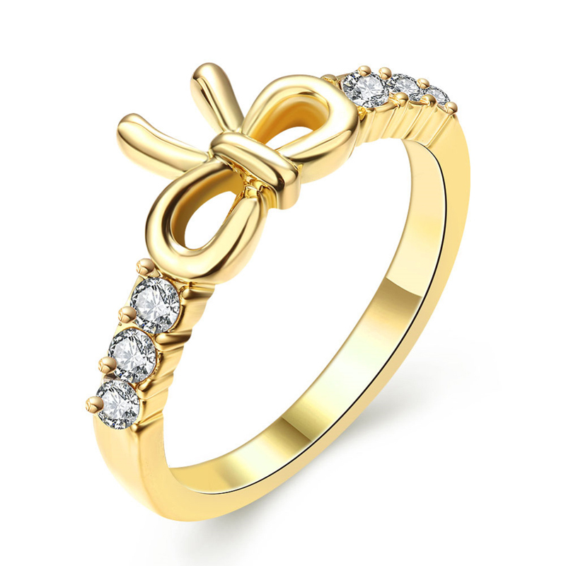 Wedding 3mm 0.1 Carat Round CZ Yellow Gold Plated Simulated Diamond Eternity Ring Bowknot Bands New Jewelry for Women