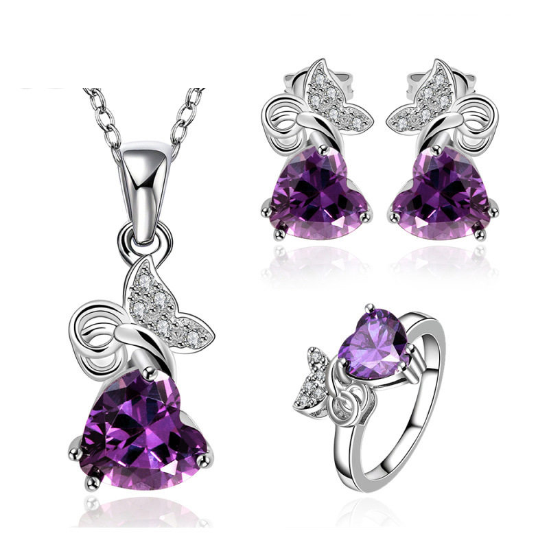 Silver Plated Jewelry Set Party Jewlery For Lady Fashion Purple Stone Necklace Ring Earrings