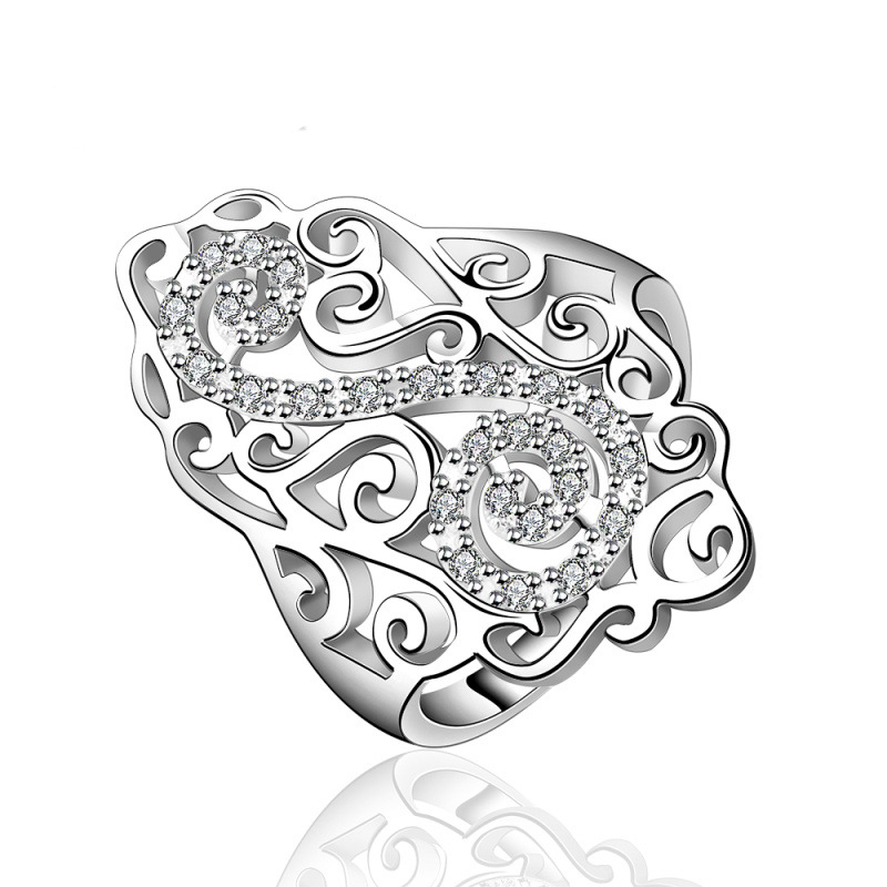 Geometric Zircon Simple Ring Geometric Ring Office Silver Plated & Zirconia Gift Women Dress Accessories