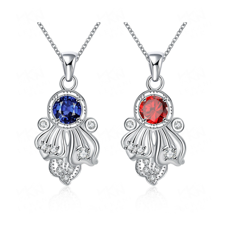 Creative 925 Sterling Silver Flower Blue/Red Crystal Pandent for Women