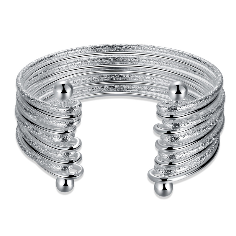 Hot Sale Big Silver Bracelet Bangle for Women Fashion Silver Multi Sandy & Smooth Wire Jewelry Nice Bangle