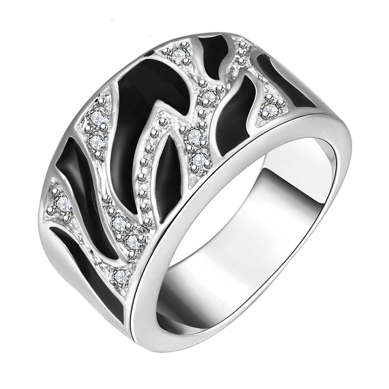 Hot Factory Direct Silver plated Jewelry Noble Women Men Ring Korean Exquisite Fashion Fmale Broadside Crystal Ring