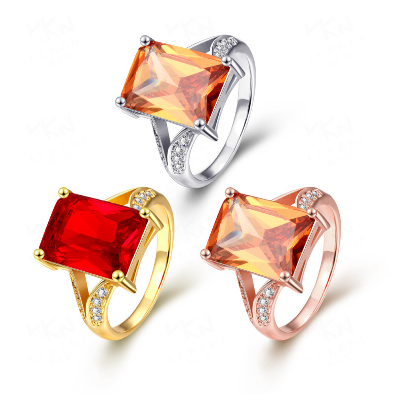 New Popular Luxury Simple Ring Beautiful Ring Rectangle Zircon Cutting Ring Gold Plated Jewelry