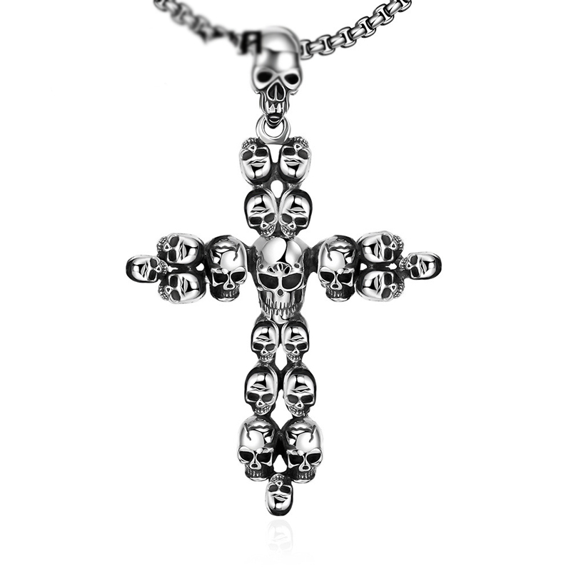European Vintage Steampunk Gothic Classic Skull Cross Pendant Men's Necklace 316L Stainless Steel Necklace