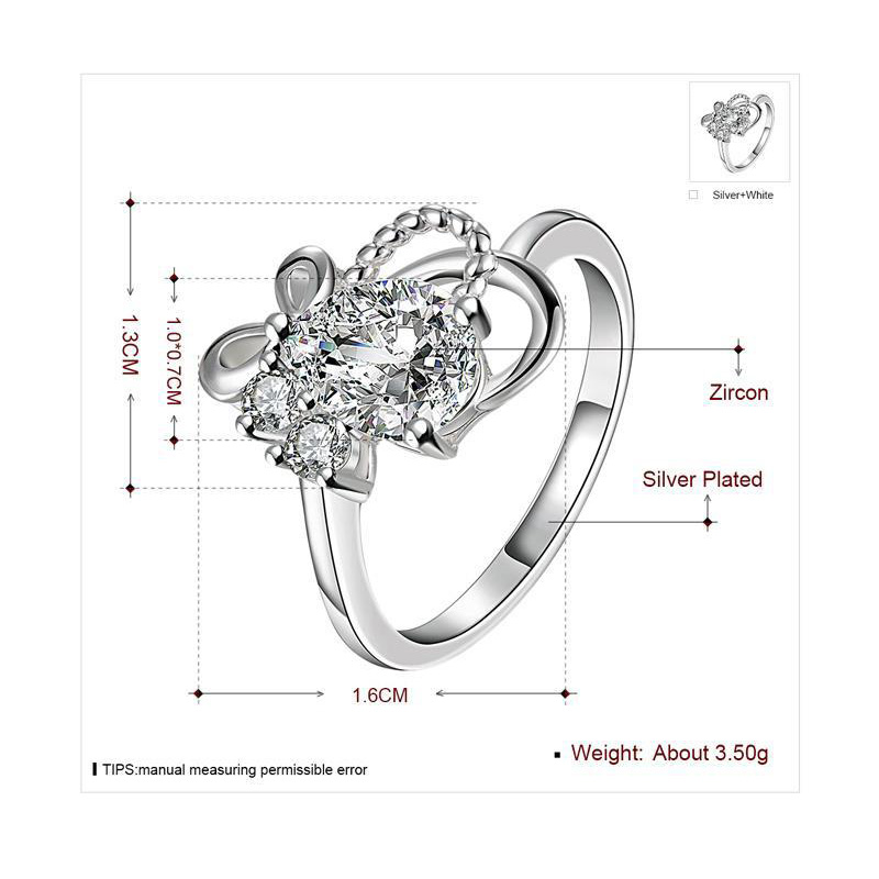 Plain Finger Ring for Women 925 Sterling Silver Plated Round Zirconia Wedding Jewelry