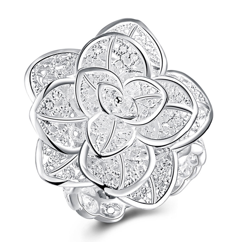925 Sterling Silver Jewelry Big Flower Rings Free Size Finger Ring For Women
