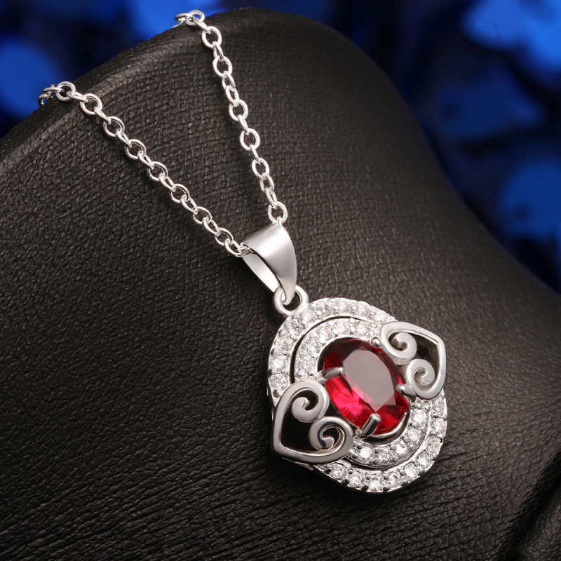 925 Sterling Silver Plated Full Rhinestone Paved Double Hearts with Red/OrangeBlue/White Crystal Pendant Necklace