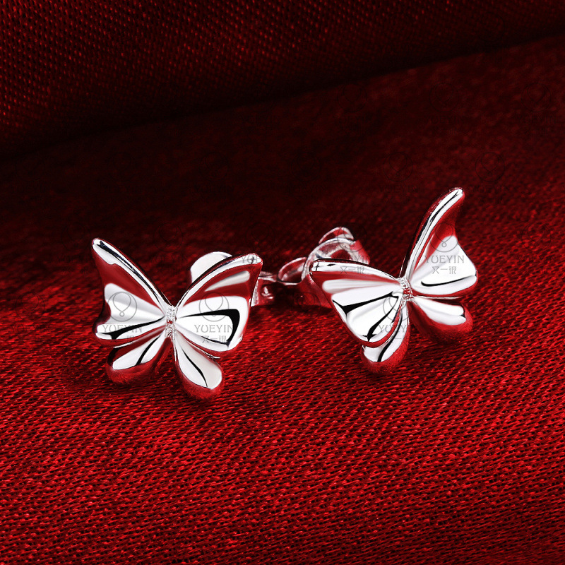 Fashion Butterfly Zircon Silver Earrings Animal Stud Earring Trendy Silver Plated Women Girls