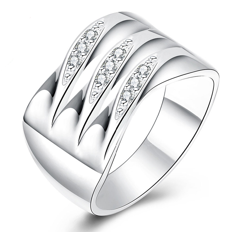 Fashion Wedding Jewelry Wide Three Cross Line Tag Ring Women New Top Quality Silver Plated