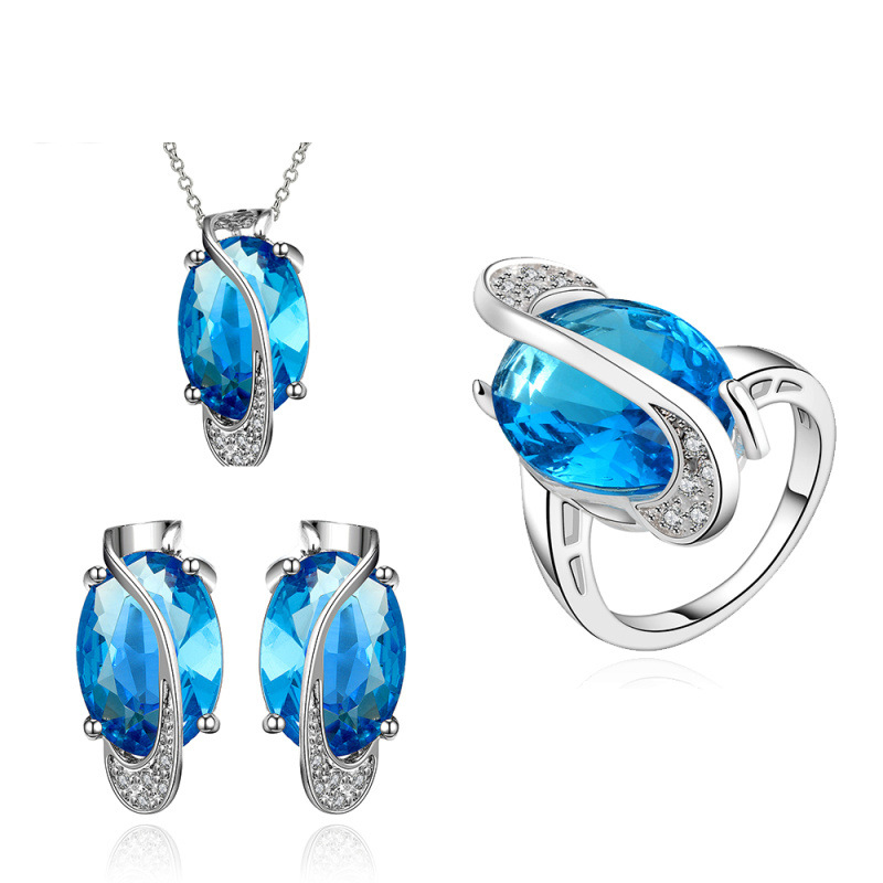 Top Quality Party Jewlery Sets Women Fashion 925 Sterling Silver Plated Crystal Items