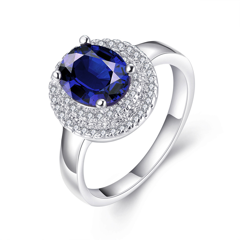 925 Sterling Silver Plated with Blue Gem Sapphire Finger Crystal Ring Brand Wedding Jewelry for Women